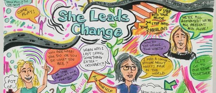 Live Illustration of our September 2018 open session of She Leads Change, by artist Jenny Leonard (jennyleonardart.com)